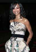 Strapless Dress Prints - Zoe Saldana Wearing A Giambattista Print by Everett