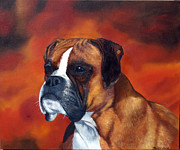 Boxer Paintings - Zoey by Michele Snell
