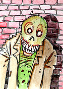 Zombies Drawings Prints - Zombie Against The Wall Print by Byron Rempel