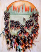 Walking Dead Paintings - Zombie Apocalypse by Al  Molina