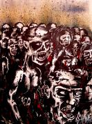 Undead Drawings Posters - Zombie Army Poster by Sam Hane