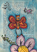 Cartoon Monster Prints - Zombie Butterfly Print by Jera Sky
