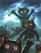 Blue Art Prints - Zombie Cats Print by Jeff Haynie