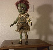 Zombie Sculpture Originals - Zombie Flower Girl by Meg Sloss