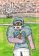 Football Game Mixed Media Prints - Zombie Football Print by Jera Sky