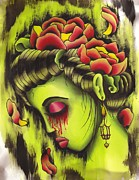 Gloomy Painting Prints - Zombie Girl no2 Print by Lauren B