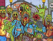 Undead Drawings Posters - Zombie Main Street Poster by Anthony Snyder