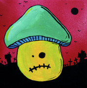 Haunted House Mixed Media Posters - Zombie Mushroom 1 Poster by Jera Sky
