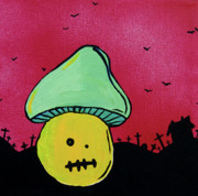 Haunted House Mixed Media Posters - Zombie Mushroom 2 Poster by Jera Sky