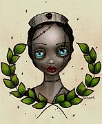 Eyes  Painting Metal Prints - Zombie Nurse Metal Print by  Abril Andrade Griffith