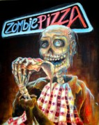 Day Of The Dead Skeleton Posters - Zombie Pizza Poster by Heather Calderon
