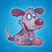 Cartoon Digital Art - Zombie Puppy by John Schwegel