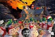Kinkade Digital Art Posters - Zombie Snowmen Christmas Poster by Barry Kite