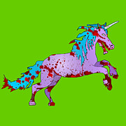 Splats Prints - Zombie Unicorn Print by Jera Sky