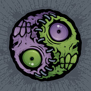 Cartoon Posters - Zombie Yin-Yang Poster by John Schwegel
