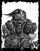 Zombies Drawings Prints - Zombies  Print by Tony  Koehl