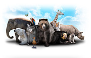 Angela Waye Prints - Zoo Animal Friends Print by Angela Waye