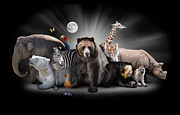 Zoo Animals At Night With Black Background Print by Angela Waye