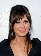 Diamond Earrings Framed Prints - Zooey Deschanel At Arrivals For 500 Framed Print by Everett