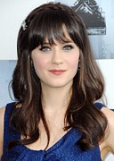 Red Carpet Prints - Zooey Deschanel At Arrivals For Film Print by Everett
