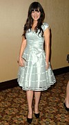 Tiered Dress Posters - Zooey Deschanel In Attendance Poster by Everett