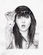 Zooey Deschanel Drawings Prints - Zooey Deschanel Print by Rosalinda Markle