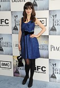 Zooey Deschanel Photo Prints - Zooey Deschanel Wearing A Lela Rose Print by Everett