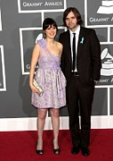 At Arrivals Prints - Zooey Deschanel Wearing A Luella Dress Print by Everett