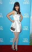 Silver Dress Prints - Zooey Deschanel Wearing An Erin Print by Everett