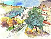Travel Sketch Framed Prints - Zuheros in Spain 02 Framed Print by Miki De Goodaboom