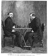 Chess Set Prints - Zukertort Vs. Steinitz Print by Granger