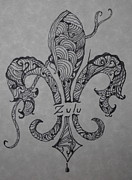 Mardi Gras Drawings Framed Prints - Zulu Fleur de Leis Framed Print by Marian Hebert