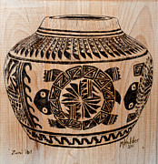 Native American Pyrography - Zuni Pot by Mike Holder