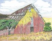 Nature Scene Drawings Prints - Zuniga Barn Print by Rachel Zuniga