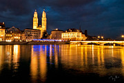 Zurich Framed Prints - Zurich Night Framed Print by Nian Chen