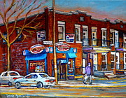 Montreal Neighborhoods Paintings - Zytynskys Deli Montreal by Carole Spandau
