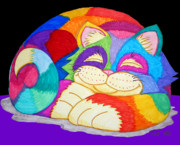 Animals Drawings Posters - ZZzzzzzzzz Cat 3 Poster by Nick Gustafson