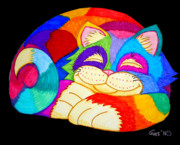 Colorful Animals Drawings Framed Prints - ZZZZZZZZZZZZ Cat Framed Print by Nick Gustafson