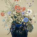 A Vase Of Blue Flowers by Odilon Redon