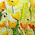 Yellow Poppy 2 - Abstract Floral Painting by Ismeta Gruenwald