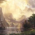 Among The Sierra Nevada Mountains California Print by Albert Bierstadt