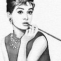Audrey Hepburn Portrait Print by Olga Shvartsur
