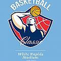 Basketball Player Rebounding Ball Retro by Aloysius Patrimonio