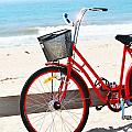 Beach Bicycle Print by adspice studios