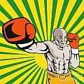 Boxer Boxing Jabbing Front by Aloysius Patrimonio