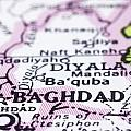 close up of Baghdad on map-Iraq Print by Tuimages