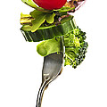 Fresh vegetables on a fork Print by Elena Elisseeva