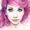 Girl With Magenta Hair by Olga Shvartsur
