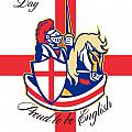 Happy St George Day Proud To Be English Retro Poster by Aloysius Patrimonio
