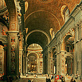 Interior Of St Peters In Rome by Giovanni Paolo Panini